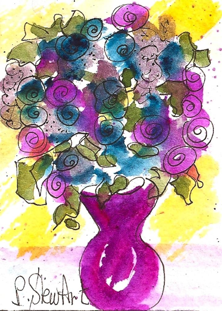 """ACEO, Folk Art Flowers in a Fuchsia Vase Loose Watercolor Original Art OOAK"" original fine art by Penny Lee StewArt"