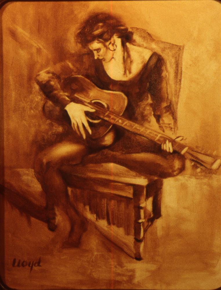"""Lisa Playing Guitar"" original fine art by Diane Lloyd"