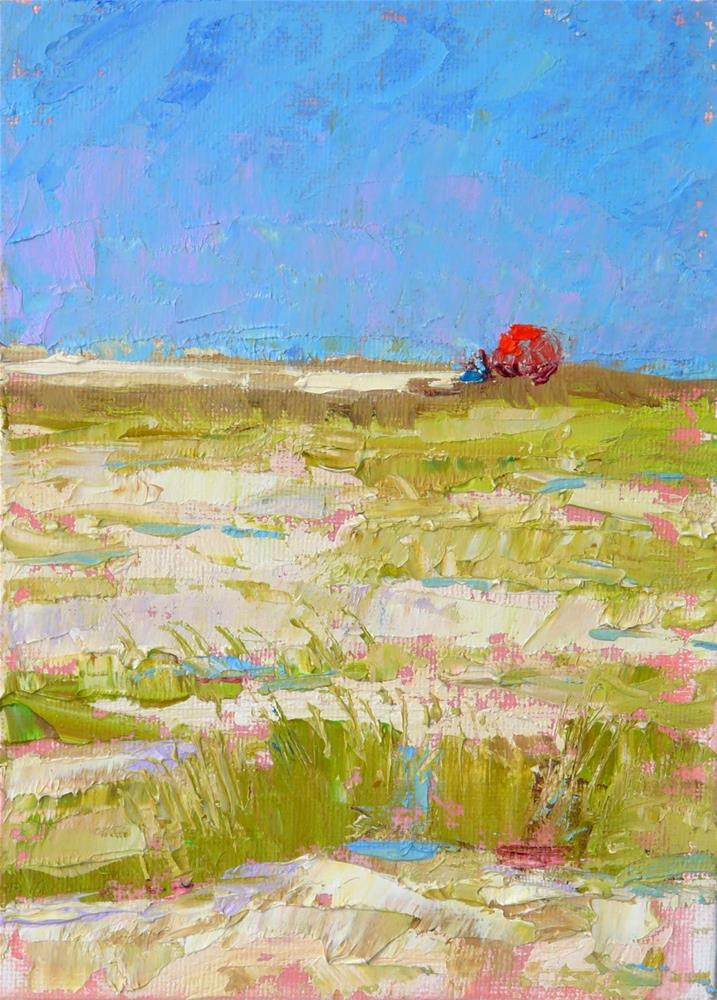 """Sand Dune Umbrella,landscape,oil on canvas,7x5,price$125"" original fine art by Joy Olney"