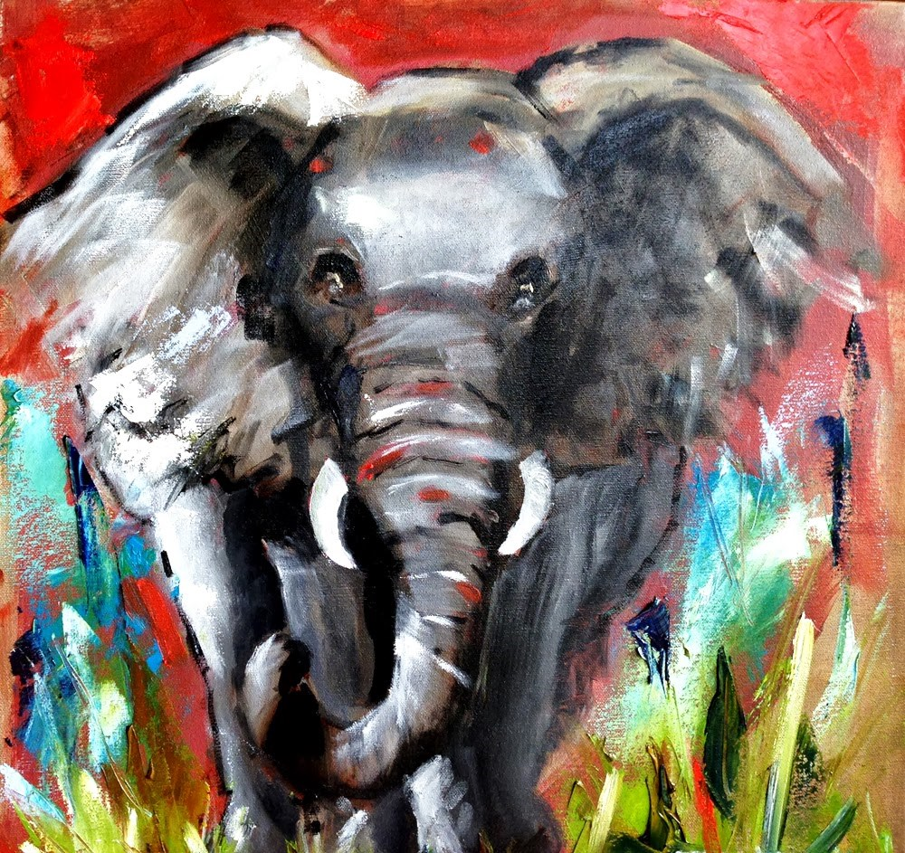 """The Elephant"" original fine art by Marcia Hodges"