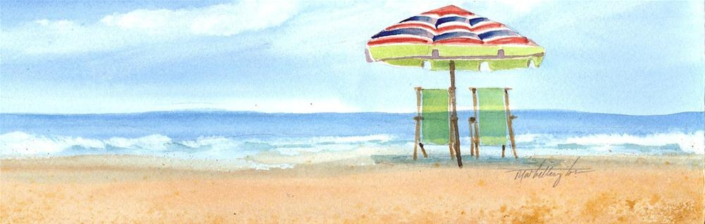 """Beach Chairs"" original fine art by Margie Whittington"
