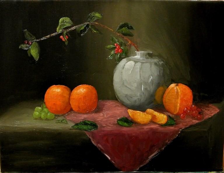 """Oranges and Vase"" original fine art by Mary Datum"