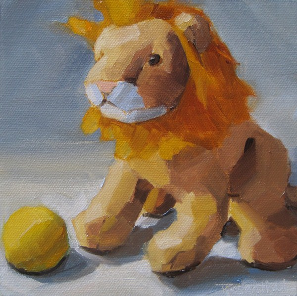 """Little Lion and Ball"" original fine art by Robin Rosenthal"