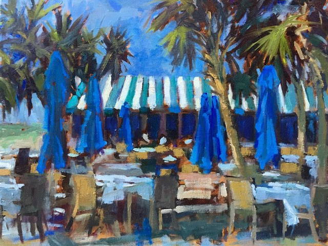 """Naples Beach Hotel Painted next to the Outdoor dining area because I'm in love with their striped awnings."" original fine art by Mary Sheehan Winn"