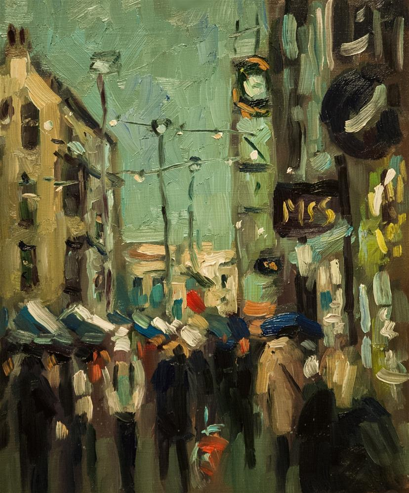 """December in the High Street"" original fine art by Andre Pallat"