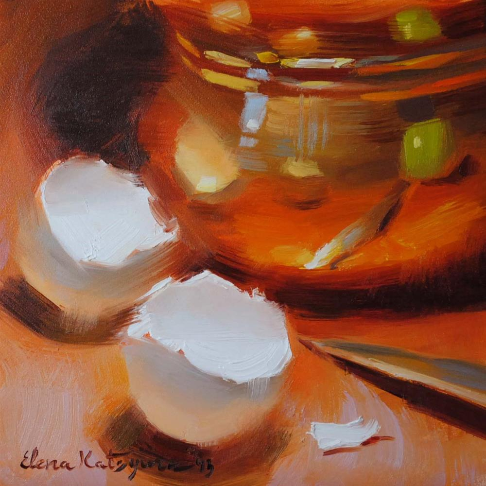 """Making Apple Pie"" original fine art by Elena Katsyura"