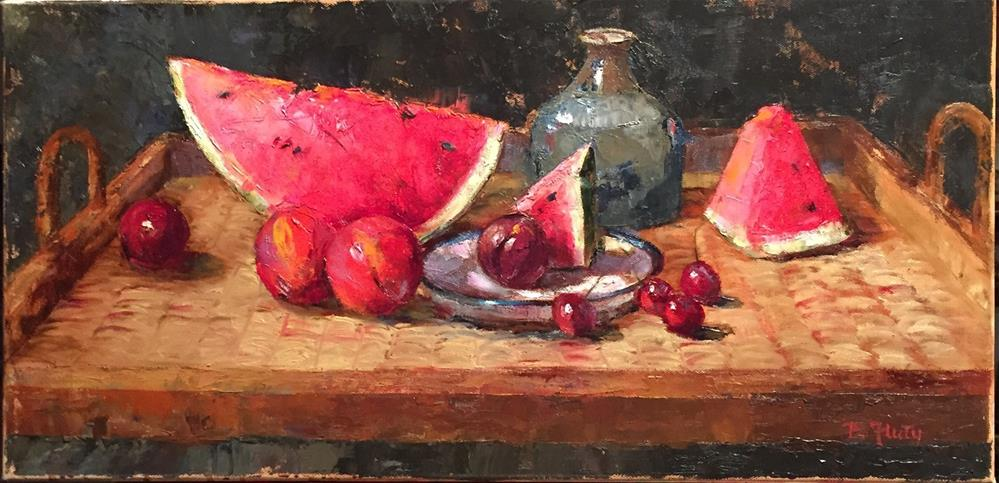 """Melon Tray"" original fine art by Barbara Fluty"