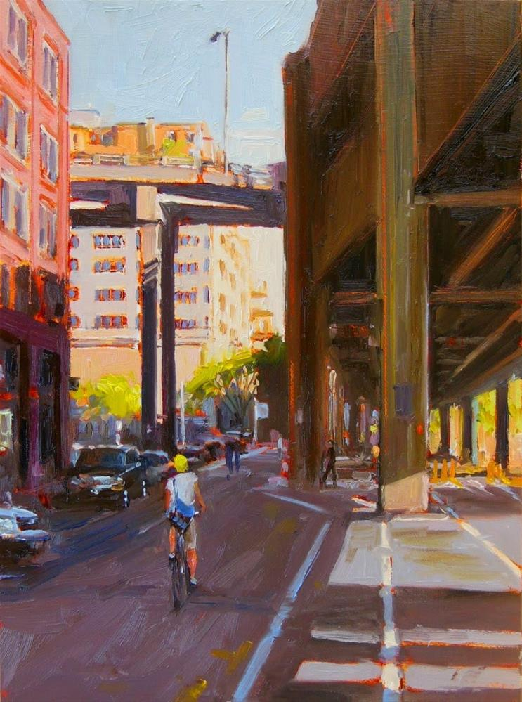"""Over and Under plein air, Seattle , cityscape, oil painting by Robin Weiss"" original fine art by Robin Weiss"