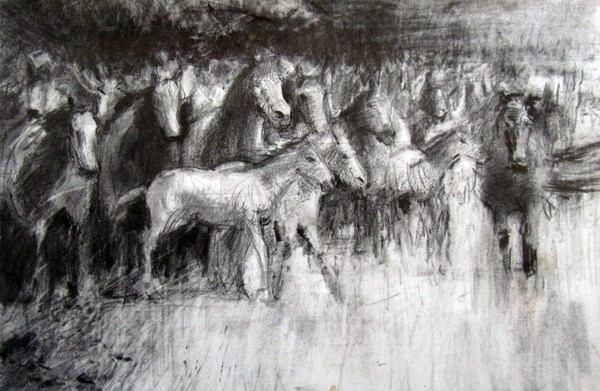 """The Rush Hour, Exmoor Ponies"" original fine art by Adebanji Alade"