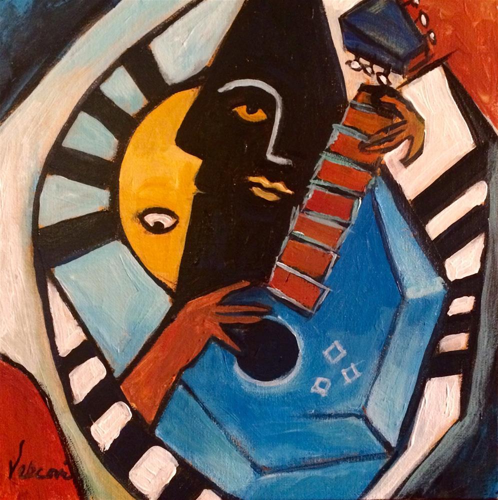 """Blues Guitar Man"" original fine art by Valerie Vescovi"