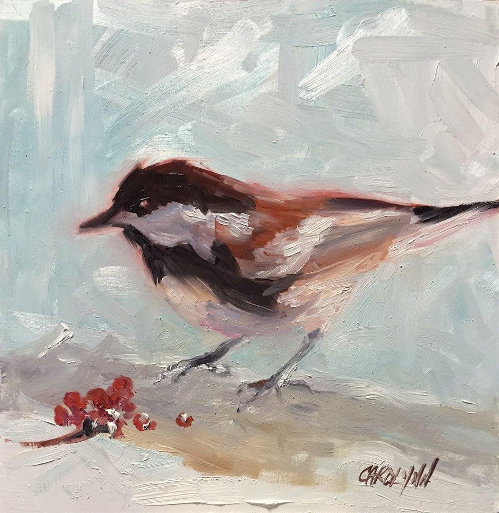 """Chickadee Challenge"" original fine art by Carolynn Doan"