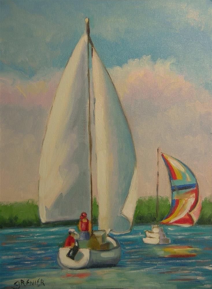 """Original Oil Painting Landscape Sailboat Lake Hartwell 9X12"" original fine art by jean grenier"
