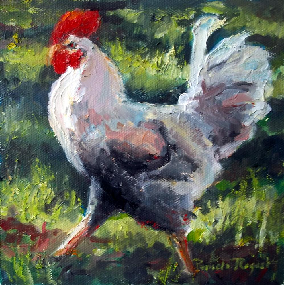 """Rooster in Paradise"" original fine art by Pamela Jane Rogers"