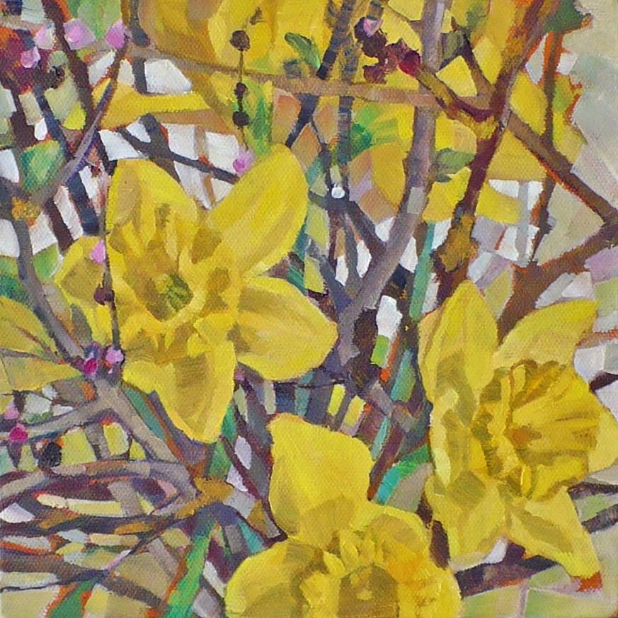 """""""Garden Daffodils"""" original fine art by Nicoletta Baumeister"""