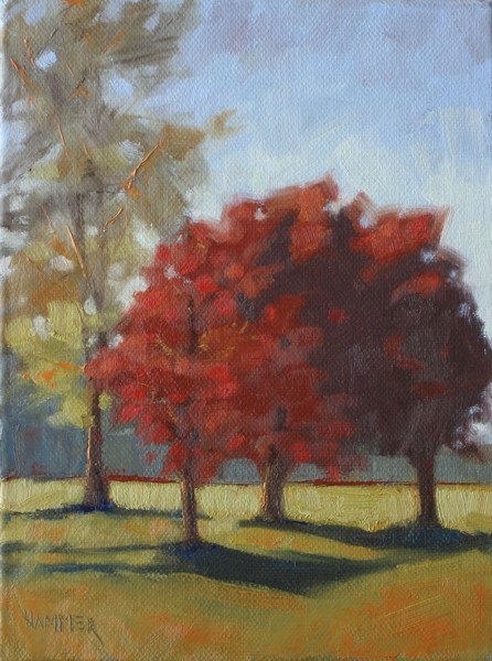 """Three red trees 6x8 oil"" original fine art by Claudia Hammer"