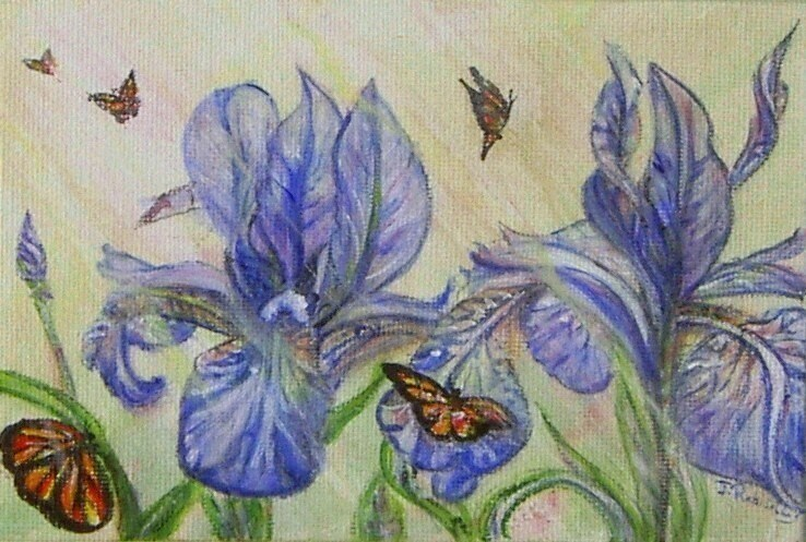 """Iris and butterflies"" original fine art by Julie Rabischung"