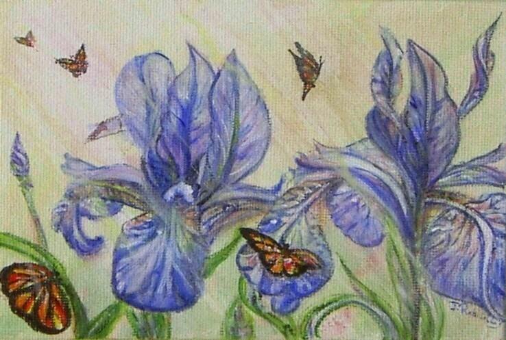 """""""Iris and butterflies"""" original fine art by Julie Rabischung"""