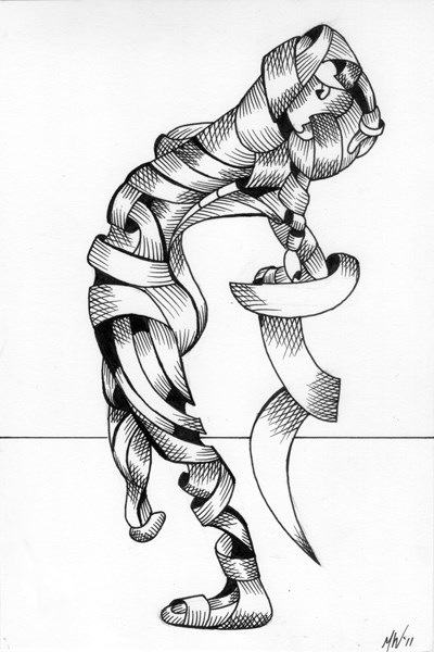 """Mark Webster - Becca 208-08 - Abstract Nude Figurative Ink Drawing"" original fine art by Mark Webster"