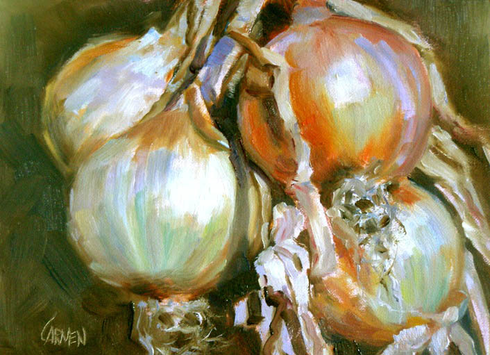 """Hanging Onions, 6x8, Oil on Canvas Board"" original fine art by Carmen Beecher"
