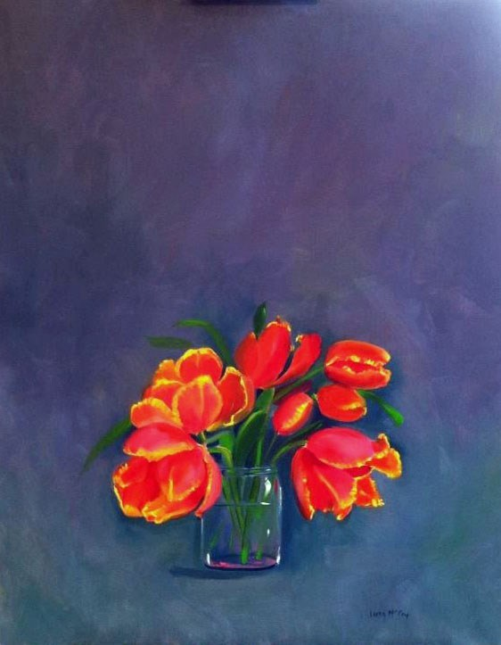 """Tulips, Oil on Canvas by Linda McCoy"" original fine art by Linda McCoy"