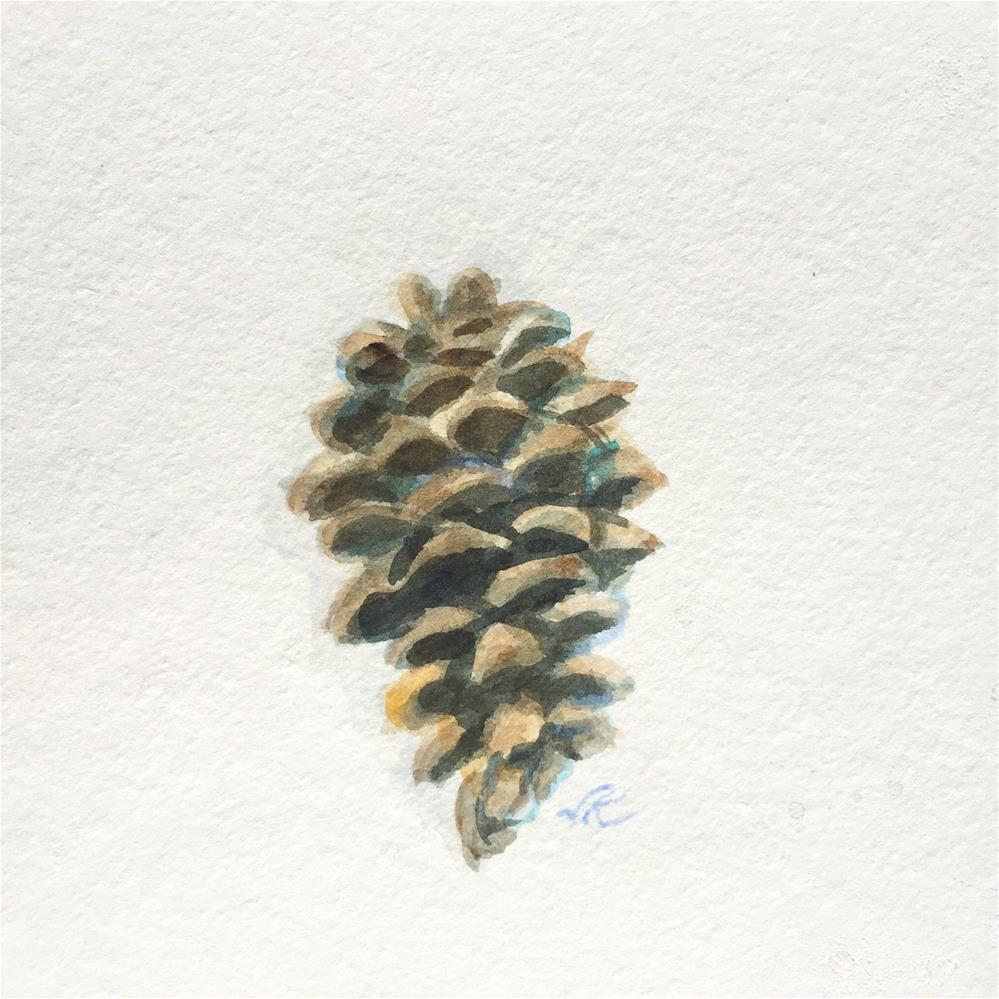 """White Pine Cone"" original fine art by Jean Krueger"