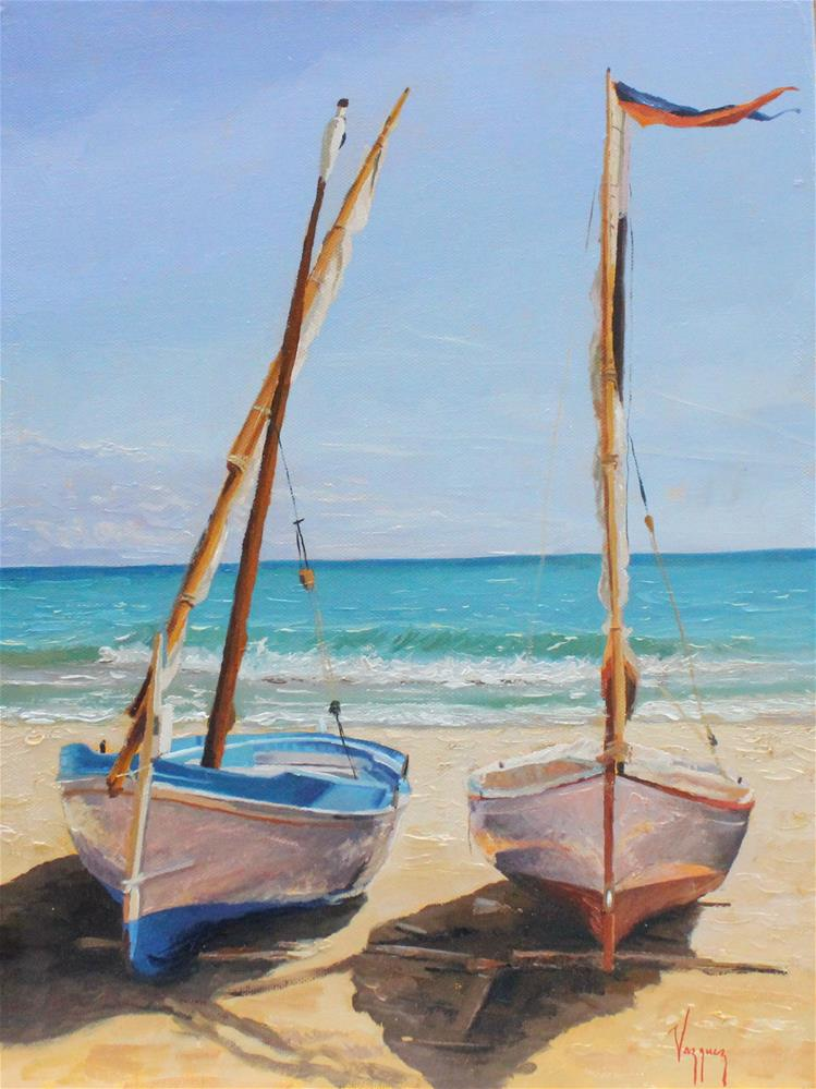 """Two boats at the beach"" original fine art by Marco Vazquez"