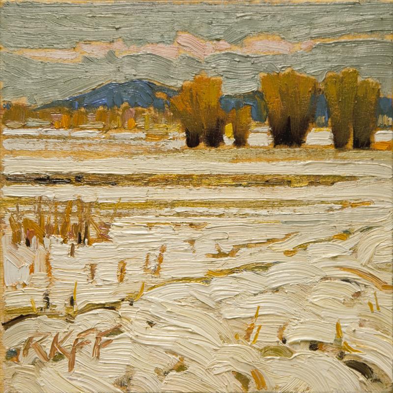 """""""Saanich Pen Snow: 6x6 oil on panel"""" original fine art by Ken Faulks"""