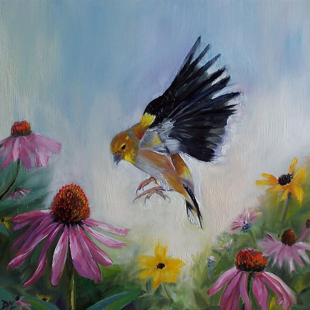 """""""Golden Finch Landing"""" original fine art by Donna Munsch"""