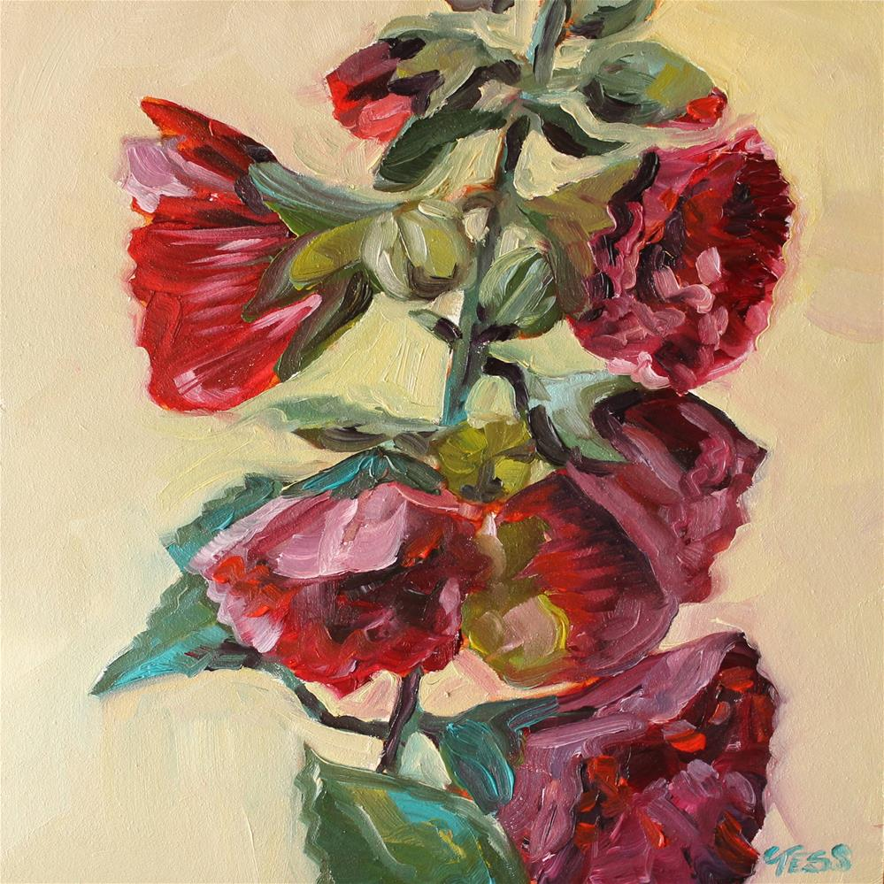 """Red Hollyhocks"" original fine art by Tess Lehman"