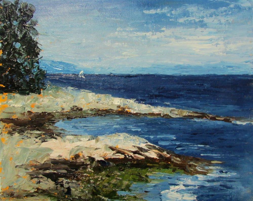 """8 x 10 inch oil Looking to the Straits"" original fine art by Linda Yurgensen"