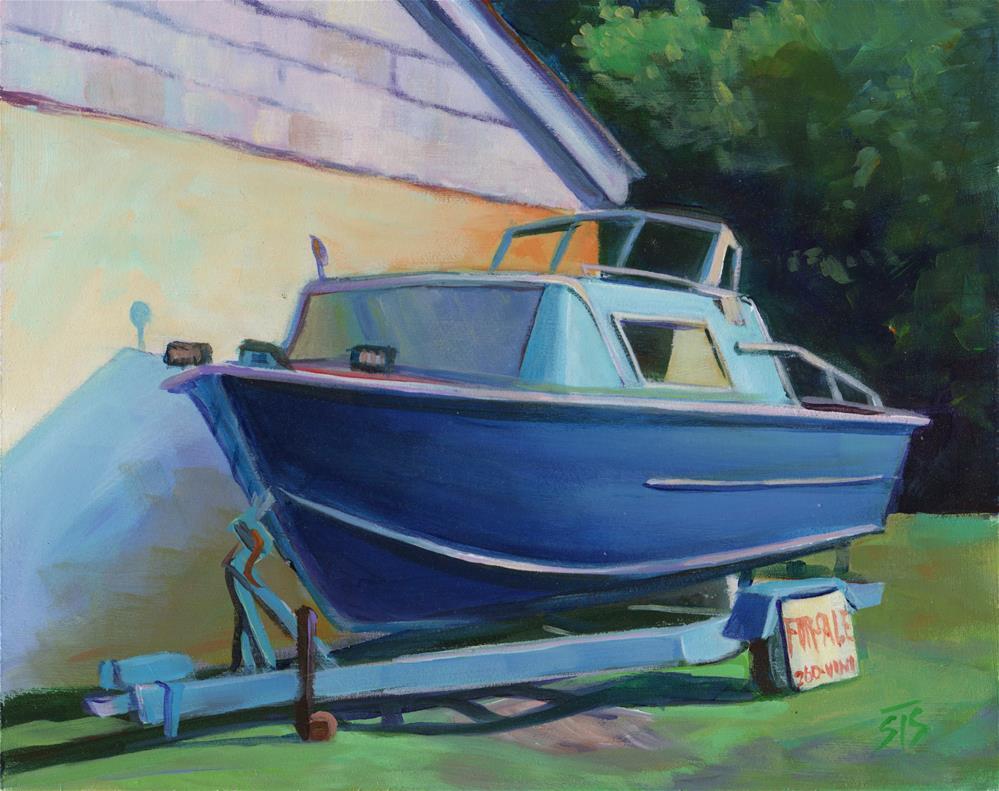 """Blue Boat"" original fine art by Susan Suraci"
