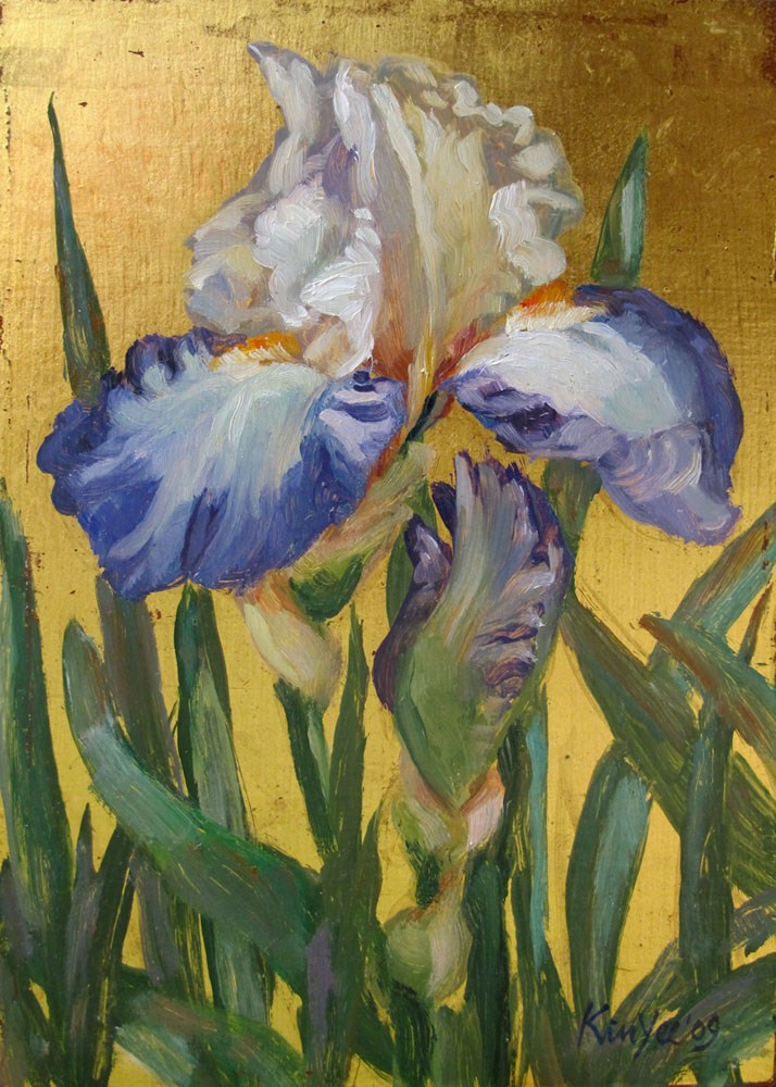 """Gilded Iris & bud"" original fine art by Myriam Kin-Yee"
