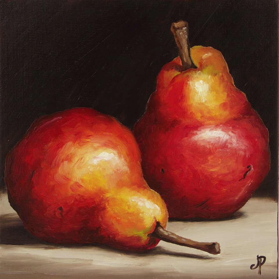 """Pair of Red Pears"" original fine art by Jane Palmer"