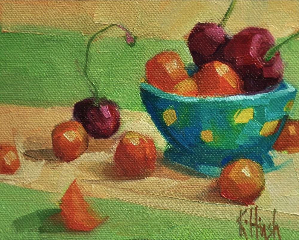 """Cherries Squared Two"" original fine art by kathy hirsh"