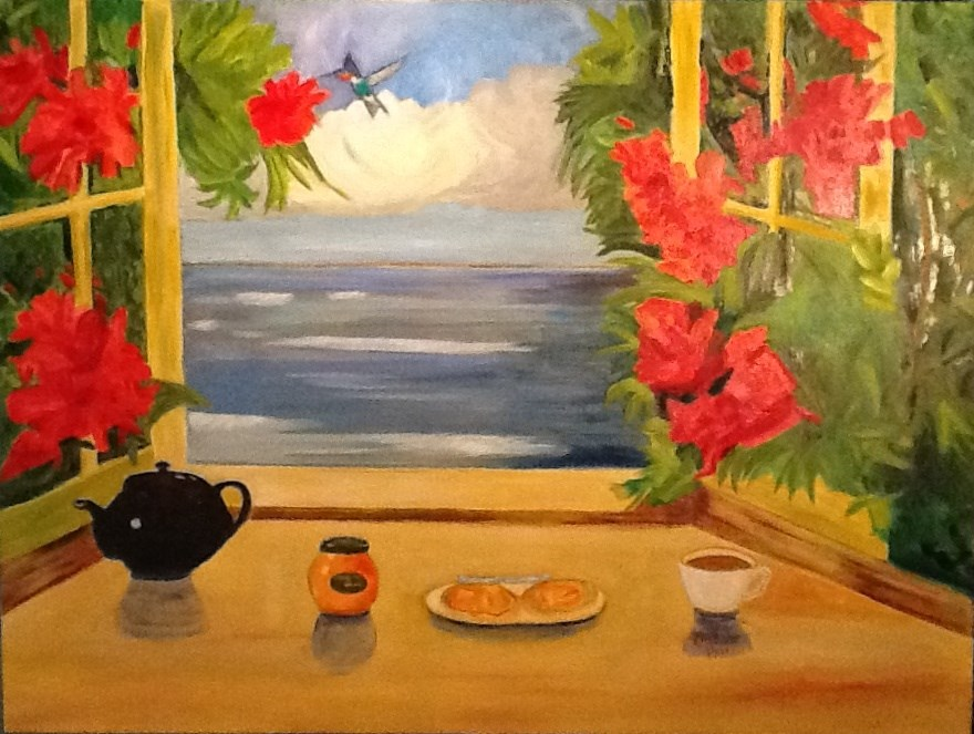 """BREAKFAST WITH THE HUMMER"" original fine art by Charlotte Bankhead Hedrick"