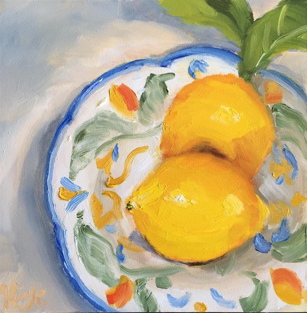 """Lemons on Plate"" original fine art by Kim Peterson"