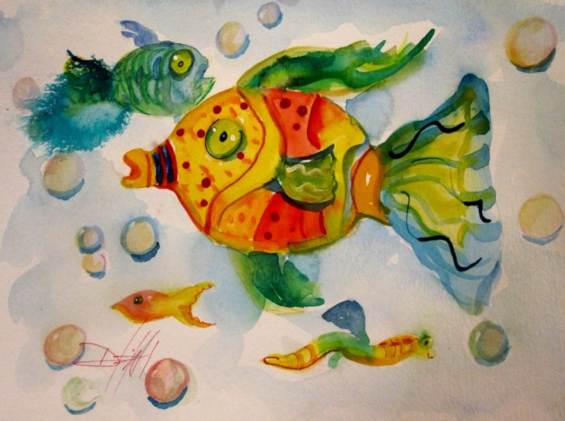 """Wild with Color Fish"" original fine art by Delilah Smith"
