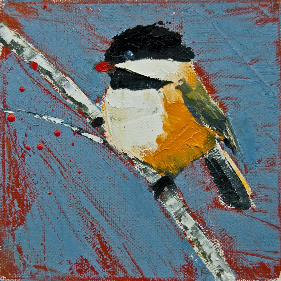 """Chickadee On Birch"" original fine art by Jani Freimann"