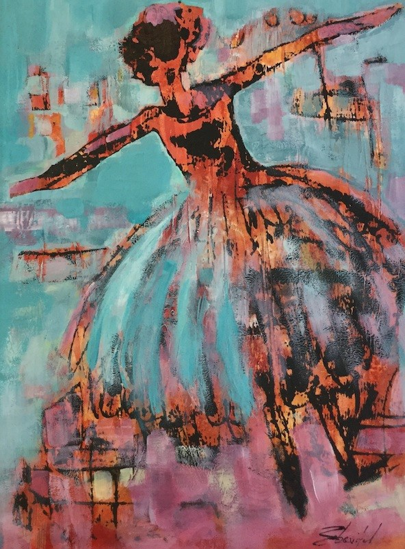 """Contemporary Abstract Ballerina Painting Assemblé 12x16.5 by Contemporary Figurative Artist, Car"" original fine art by Carolyn Zbavitel"