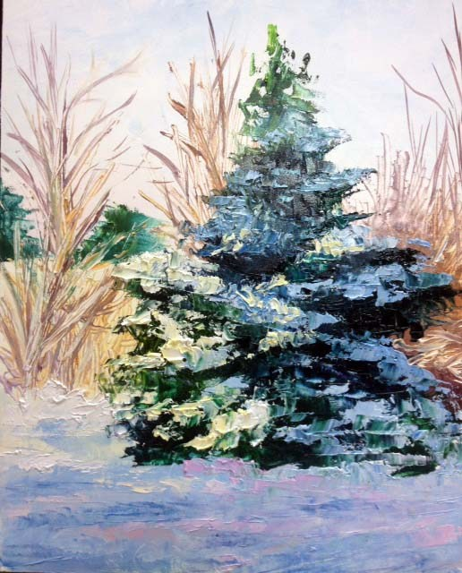 """Snow Tree"" original fine art by Carol Roark"