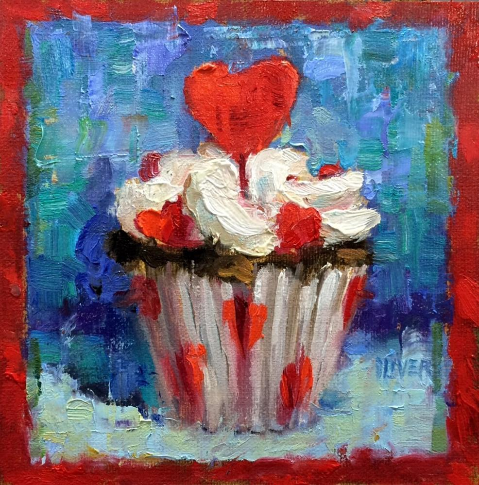 """Valentine Cupcake"" original fine art by Julie Ford Oliver"