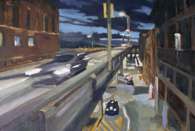 """Off at Seneca Street   Seattle city oil painting by Robin Weiss"" original fine art by Robin Weiss"