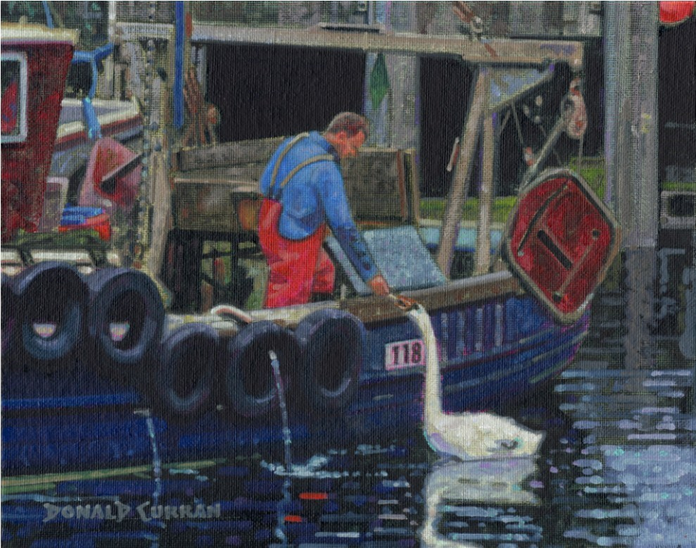 """Fisherman & Swan"" original fine art by Donald Curran"