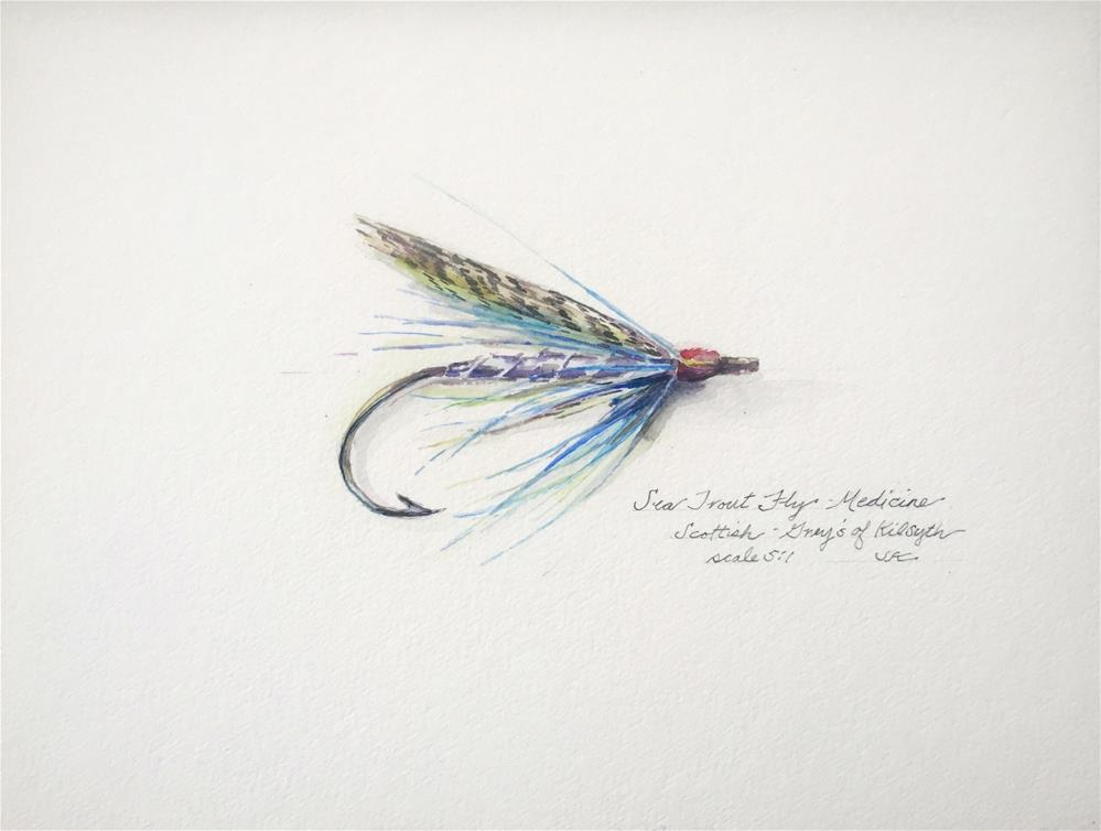 """Sea Trout Fly - Medicine"" original fine art by Jean Krueger"