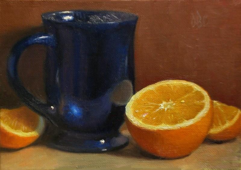 """Blue Glass and Orange"" original fine art by Debra Becks Cooper"