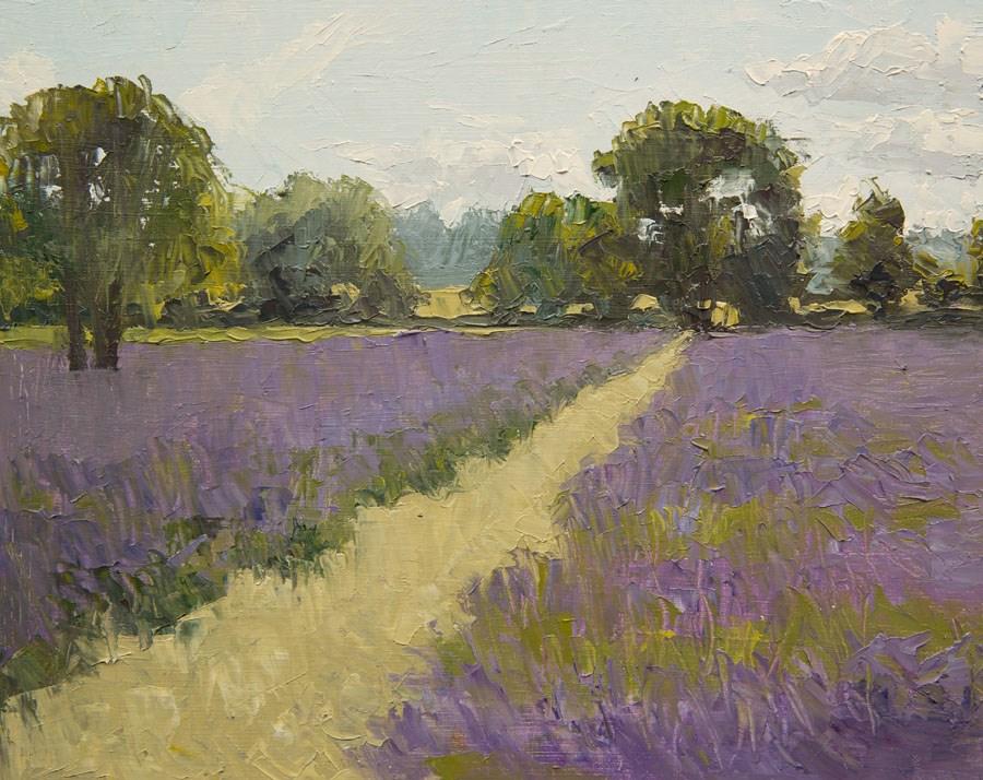 """Lavender Field"" original fine art by Jethro Knight"