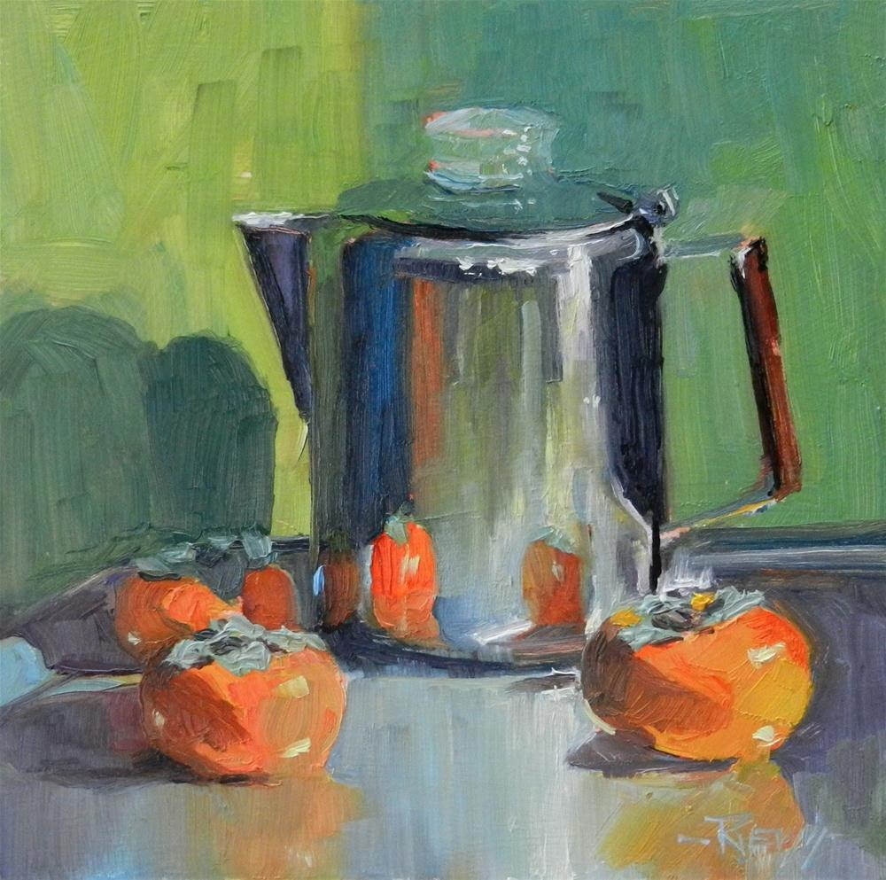 """Coffee Pot with Persimmons still life oil painting by Robin Weiss"" original fine art by Robin Weiss"