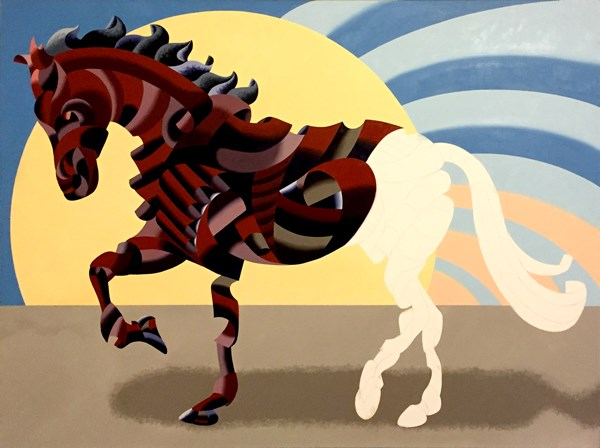 """Mark Webster - Further Progress on Abstract Geometric Futurist Horse Oil Painting"" original fine art by Mark Webster"