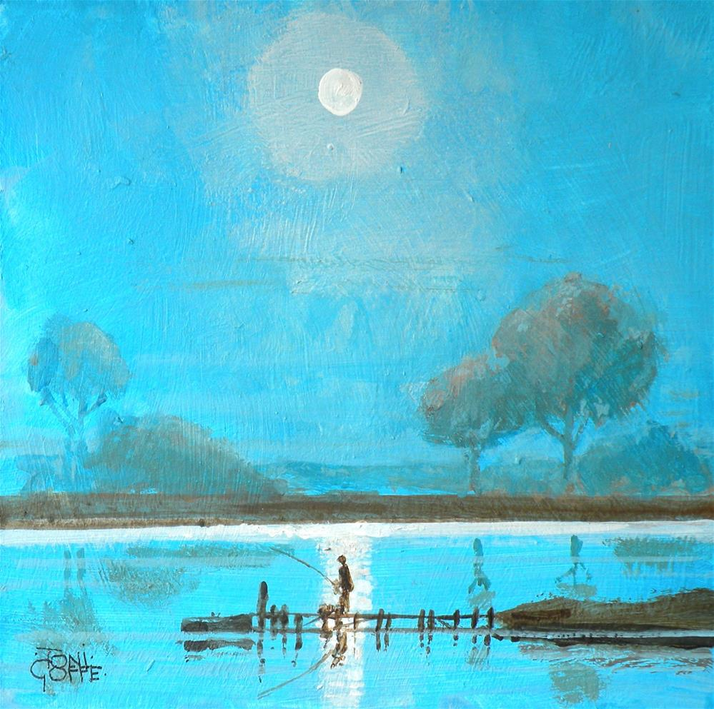"""Midnight Fishing"" original fine art by Toni Goffe"