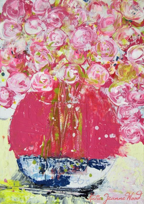 """Pink cottage chic floral painting No 143"" original fine art by Katie Jeanne Wood"
